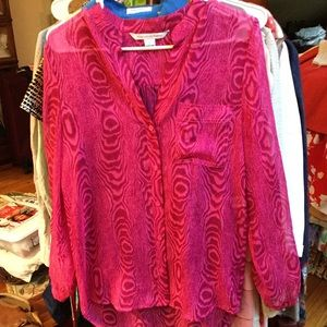 Diane von Furstenberg Blouse Pink 2 V-Neck Silk